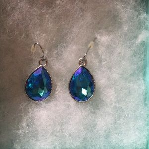 BN Iridescent Blue Tear Crystal  Drop  Earrings